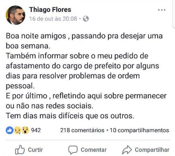No Facebook, prefeito de Ariquemes anuncia afastamento e estuda deixar redes sociais