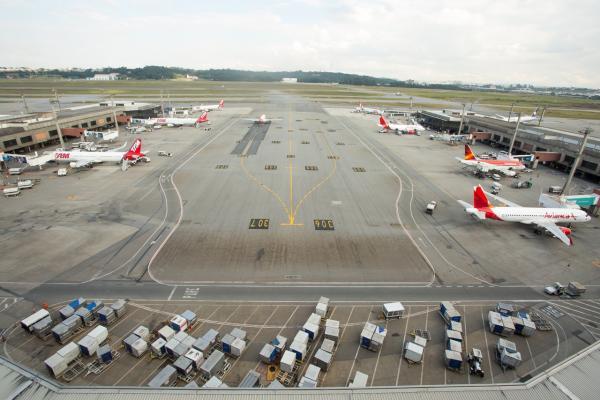 Vista do pátio do Aeroporto Internacional de São Paulo - Cumbica (GRU), em Guarulhos (Foto: Celso Tavares/G1)