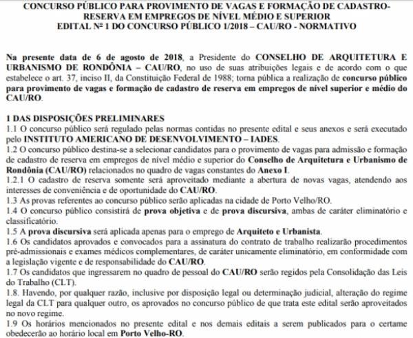 Conselho de Arquitetura e Urbanismo de Rondônia abre concurso com duas vagas e 75 de reserva