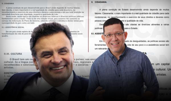 Marcos Rocha (PSL), candidato ao Governo de Rondônia, plagiou Plano de Governo da campanha do tucano Aécio Neves à Presidência da República, mostra levantamento