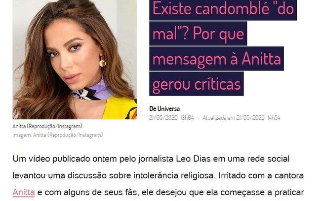 Após polêmica envolvendo Anitta e candomblé, Léo Dias deixa o UOL