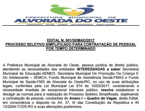 URGENTE - Liminar determina suspensão de Processo Seletivo da Prefeitura de Alvorada do Oeste