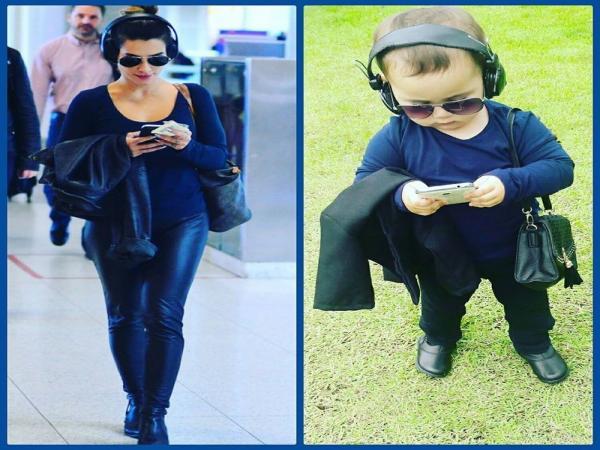 Mãe faz sucesso na internet após vestir filha bebê com roupas iguais às de artistas