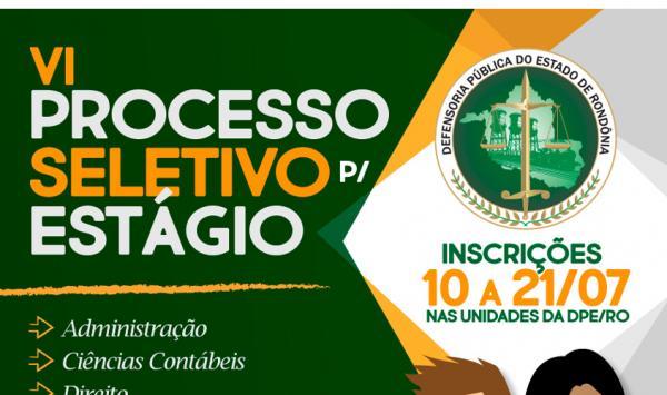 Defensoria Pública realiza processo seletivo para contratação de estagiários em RO