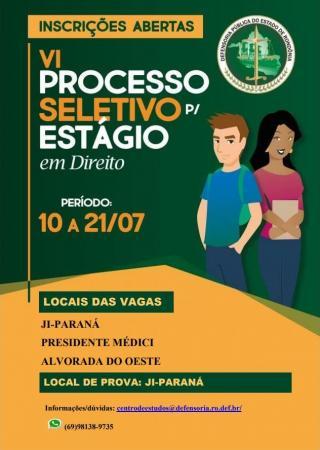 Última semana para inscrições no processo seletivo de estagiários da Defensoria Pública do Estado Rondônia